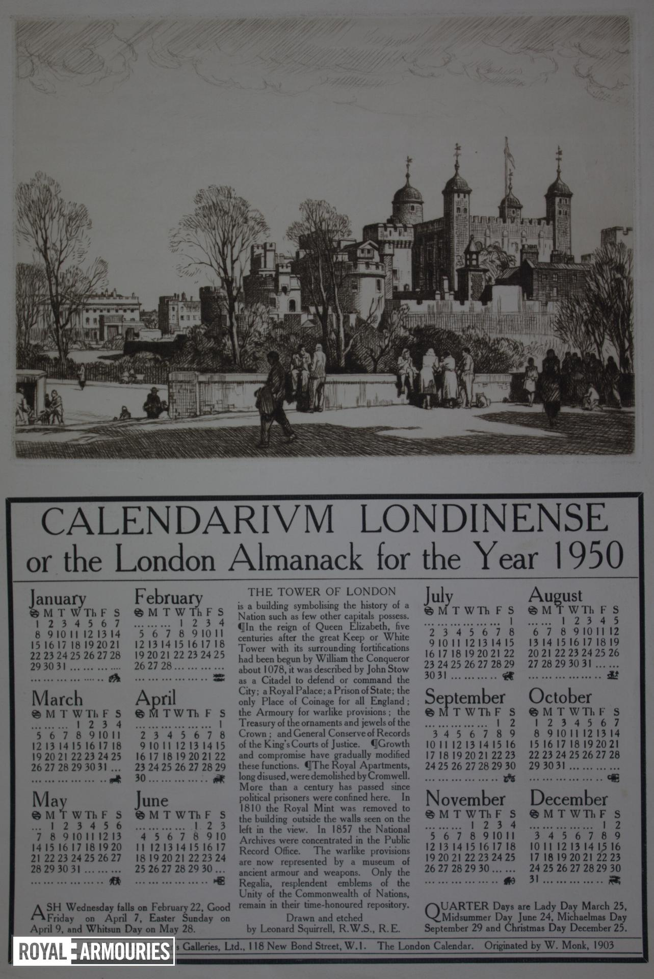 Print 'Calendarium Londinense, or the London Almanack for the Year 1950'