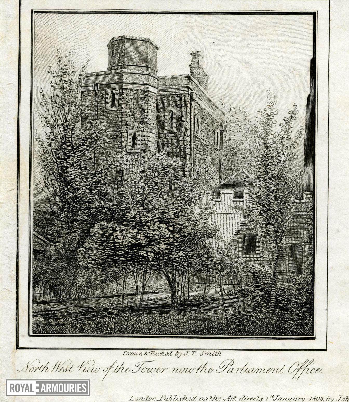 Print Engraving, entitled:  'North west view of the Tower, now the Parliament Office', dated 1805.