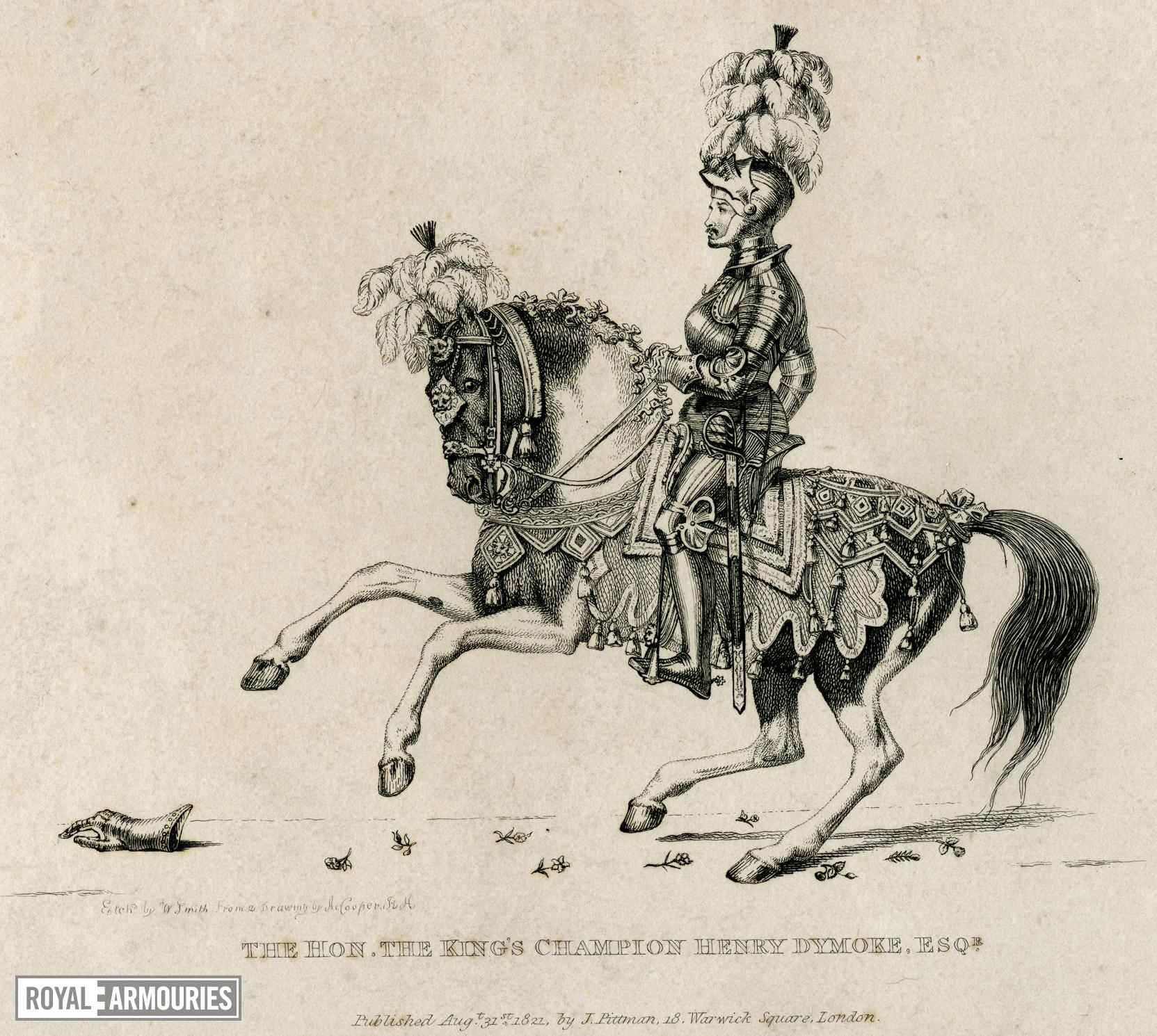Print Engraving entitled: 'The Hon. the King's Champion, Henry Dymoke, Esq.', dated 1821.