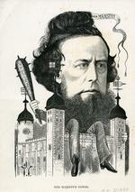 Thumbnail image of Print Caricature portrait, on card, of W. H. Dixon, entitled:  'Her Majesty's Tower'.
