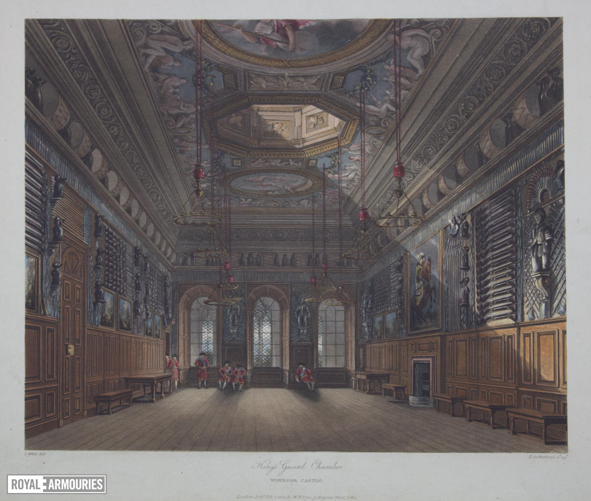 Print Coloured aquatint:  'King's Guard Chamber, Windsor Castle'