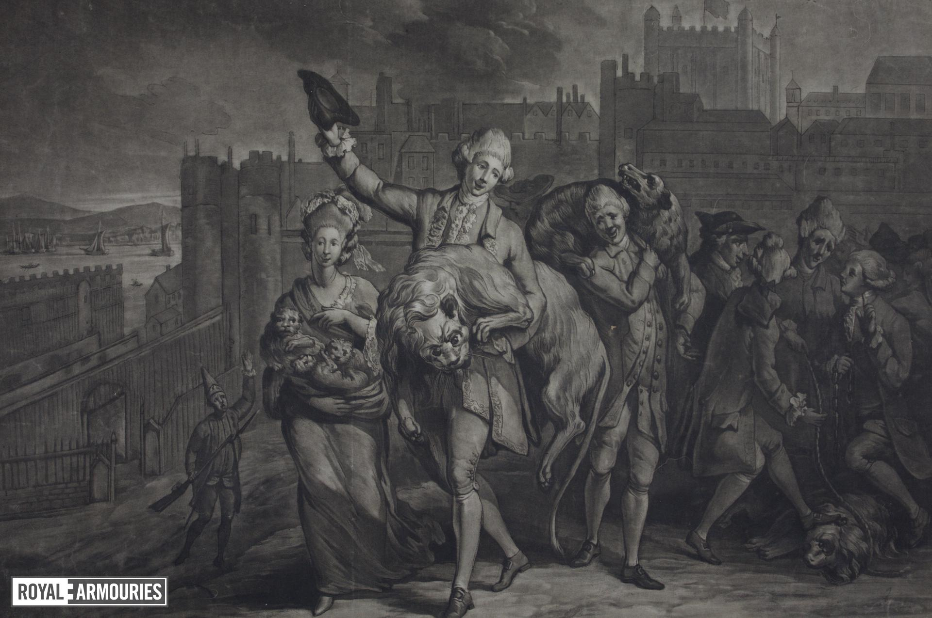 Print Mezzotint:  'Plundering the Tower', [dated 14 August, 1777]