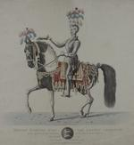 Thumbnail image of Print Coloured Engraving:  'Henry Dymoke Esqre. the Deputy Champion as he appeared at the Coronation of his most Excellent Majesty George IV, July 19, 1821...