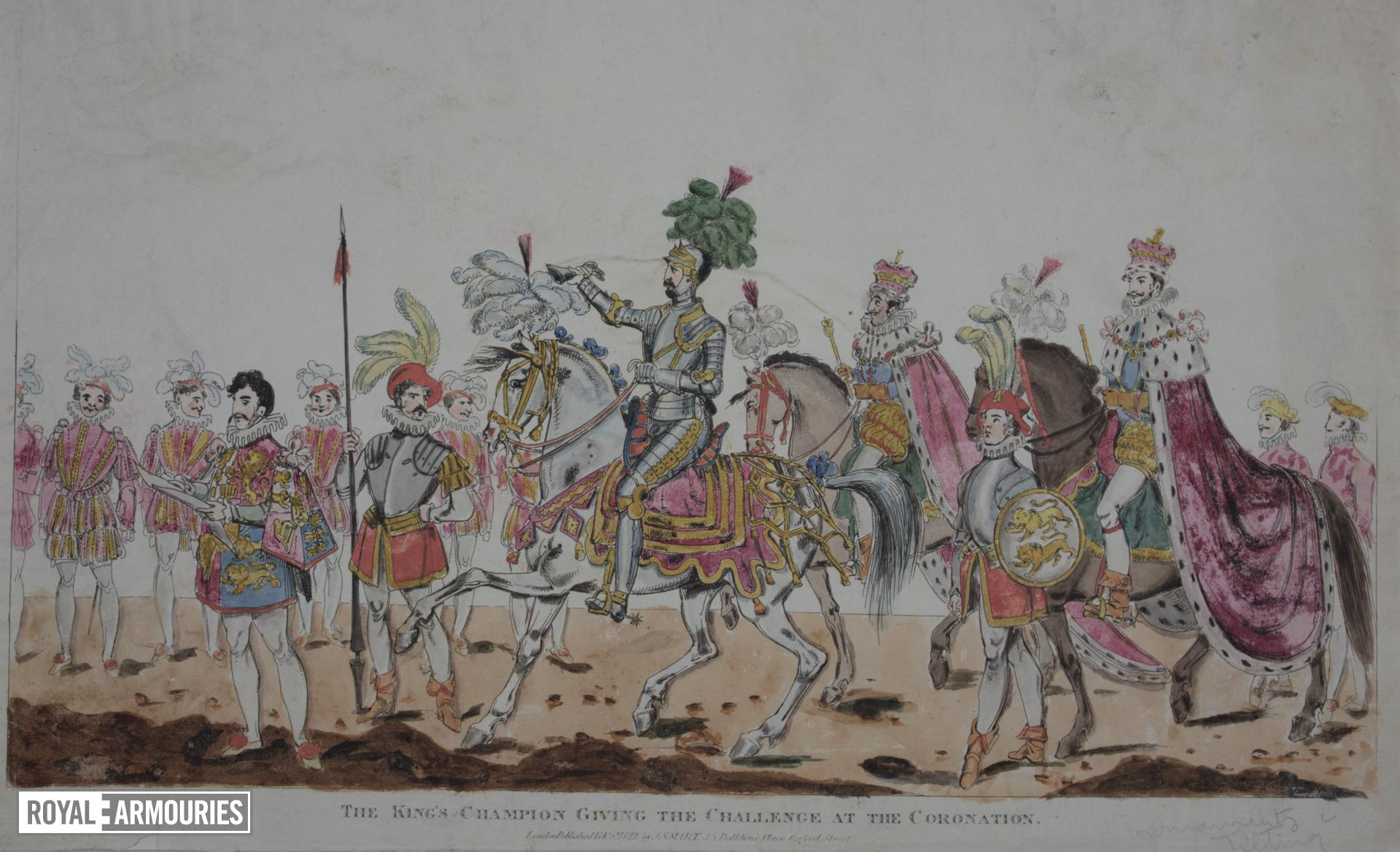 Print Coloured Engraving:  'The King's Champion giving the challenge at the Coronation.' Dated 1822.