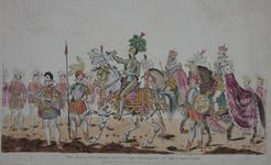 Thumbnail image of Print Coloured Engraving:  'The King's Champion giving the challenge at the Coronation.' Dated 1822.