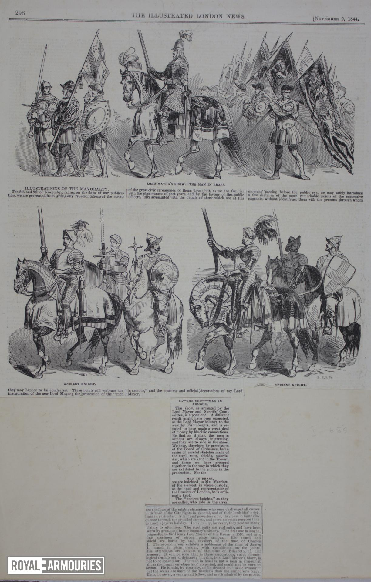 Prints Cuttings from the 'Illustrated London News', November 9, 1844, illustrating the Lord Mayor's Show for that year.