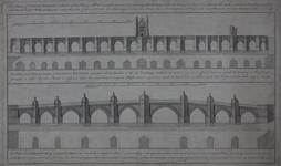 Thumbnail image of Print Engraved elevations of London Bridge, after Charles Labelye, 1746.