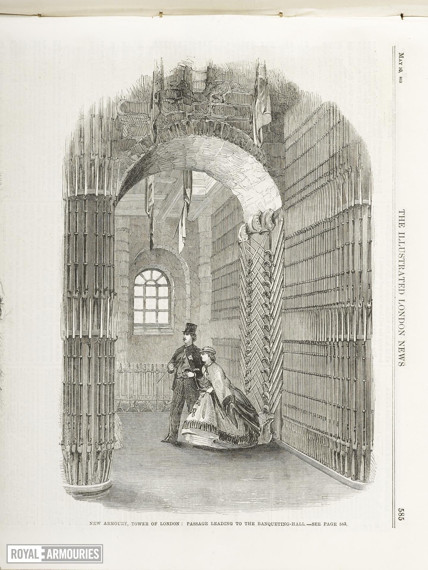 Print , entitled:  'New Armoury, Tower of London:  passage leading to the Banqueting Hall - see page 583'.