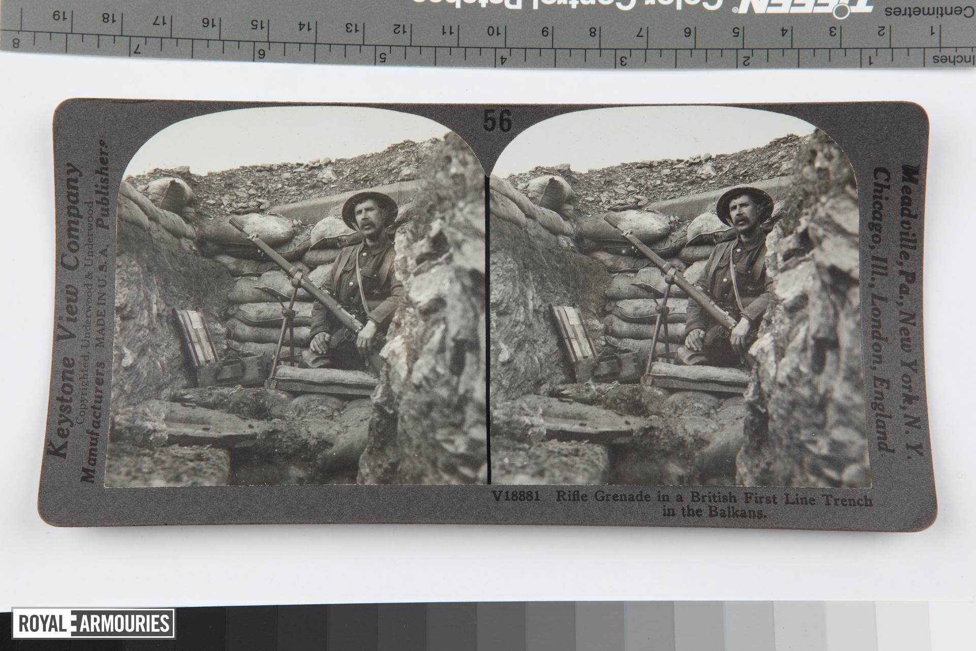 Stereoscopic photograph entitled '56. Rifle Grenade in a British First Line Trench in the Balkans', American, 1914-1919 (RAR.0987 56)