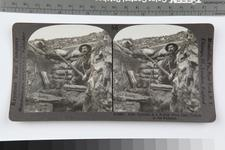 Thumbnail image of Stereoscopic photograph entitled '56. Rifle Grenade in a British First Line Trench in the Balkans', American, 1914-1919 (RAR.0987 56)