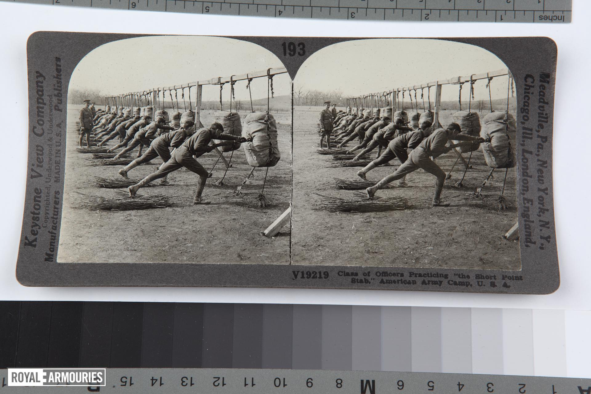 "Stereoscopic photograph entitled '193. Class of Officers Practicing ""the Short Point Stab,"" American Army Camp, U.S.A,' American, 1914-1919 (RAR.0987 193)"