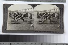 "Thumbnail image of Stereoscopic photograph entitled '193. Class of Officers Practicing ""the Short Point Stab,"" American Army Camp, U.S.A,' American, 1914-1919 (RAR.0987 193)"