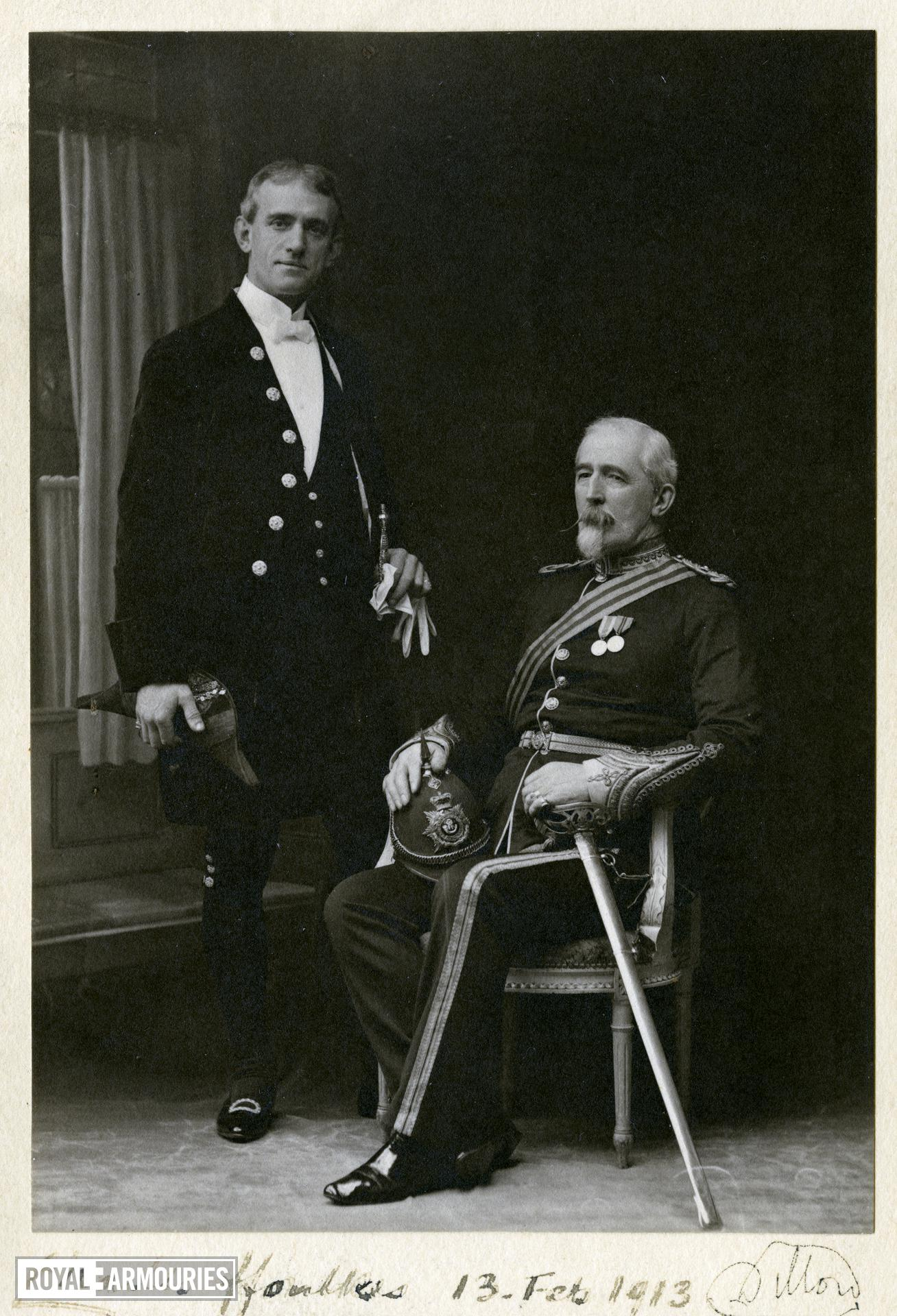 Charles ffoulkes (standing), Curator of the Armouries at the Tower of London, with his predecessor Viscount Lord Dillon in 1913.