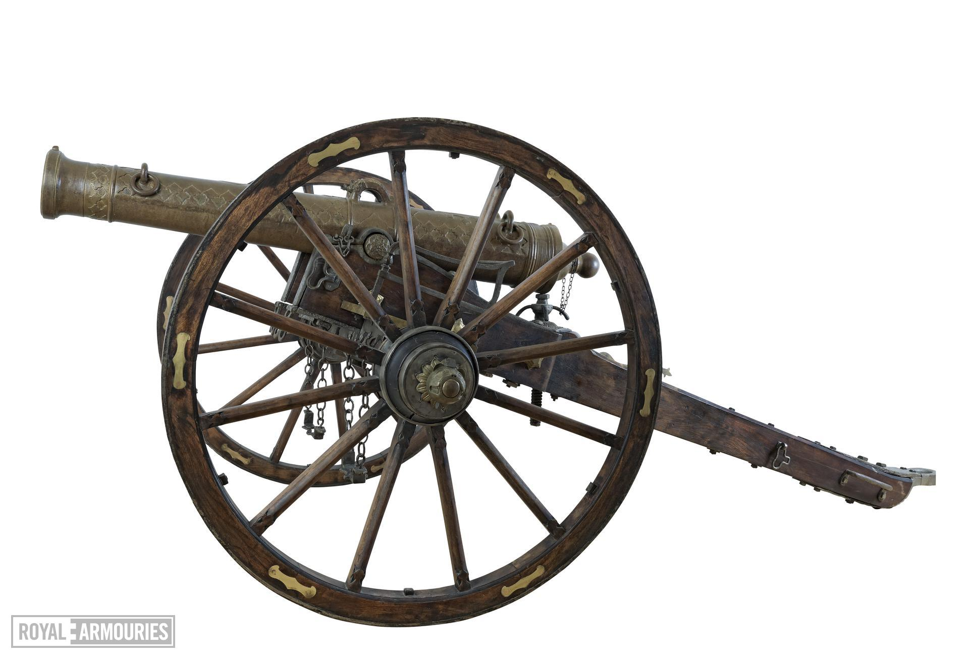 7 pr gun and field carriage Made of bronze Carriage, Indian (?), 19th century
