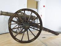 Thumbnail image of 7 pr gun and field carriage Made of bronze Carriage, Indian (?), 19th century
