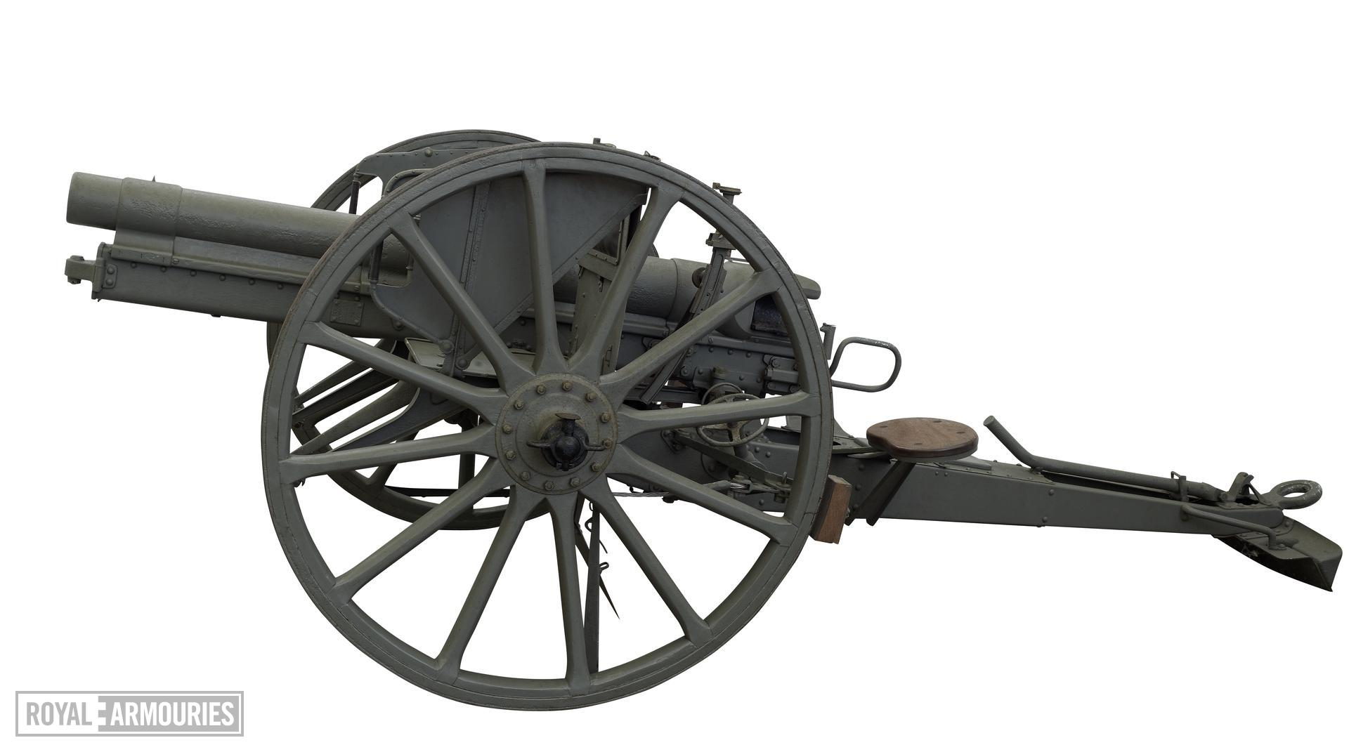 77mm Rifled breech-loading field gun and carriage, German, 1915. Model of 1896, new pattern; carriage original.