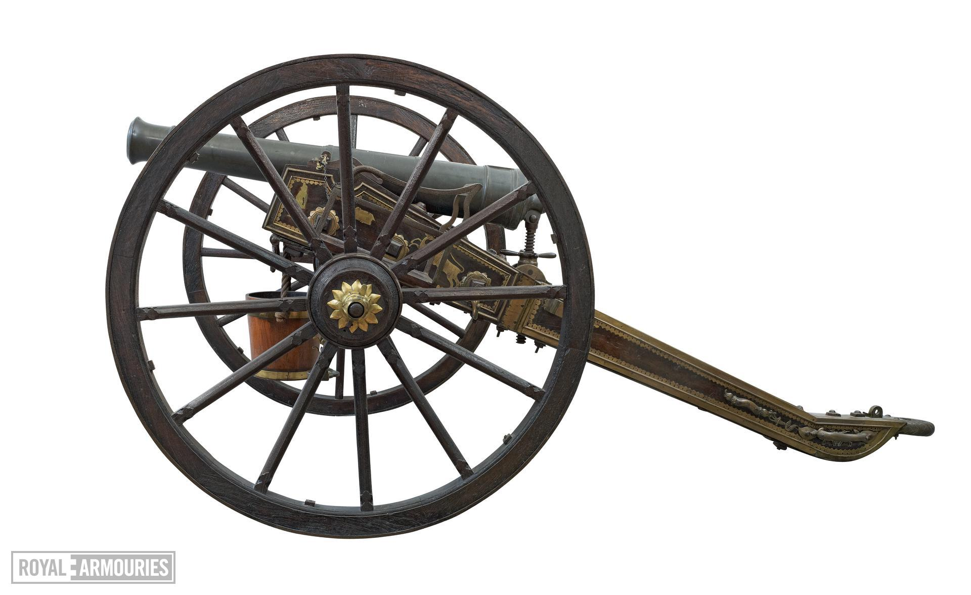 Gun - 6-pounder, Indian Field Gun, Limber and Carriage Plain barrel but very ornate carriage. Known as the Sutlej Gun