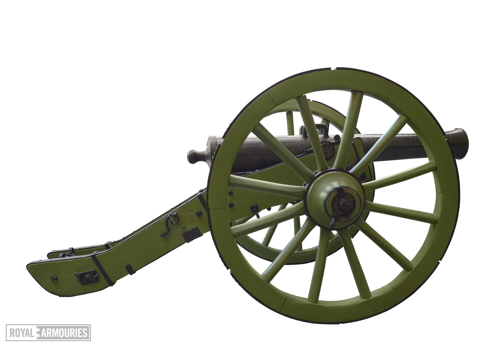 4 pr gun and carriage - Gribeauval System Made of bronze Cast by Maritz Carriage is a replica                    _