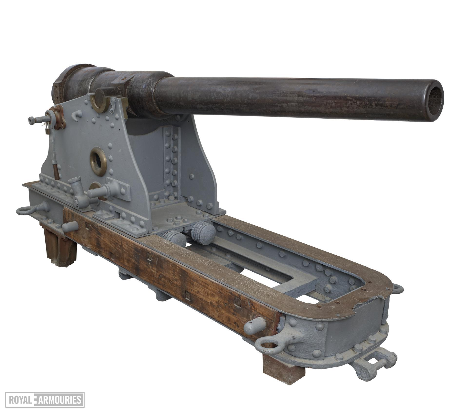 12 pr gun and carriage - 12 pr RML Rifled muzzle-loading (RML) Made of steel _ By Armstrong