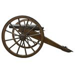 Thumbnail image of 7 pr mountain gun and carriage - 7 pr Blakely RML Mountain Gun Made by the Blakely Ordnance Company of London. Of 2.75 inch calibre, with rifling of 6 grooves. The wooden carriage is the original and is complete with shafts for mule draft and its rammer/sponge and worm