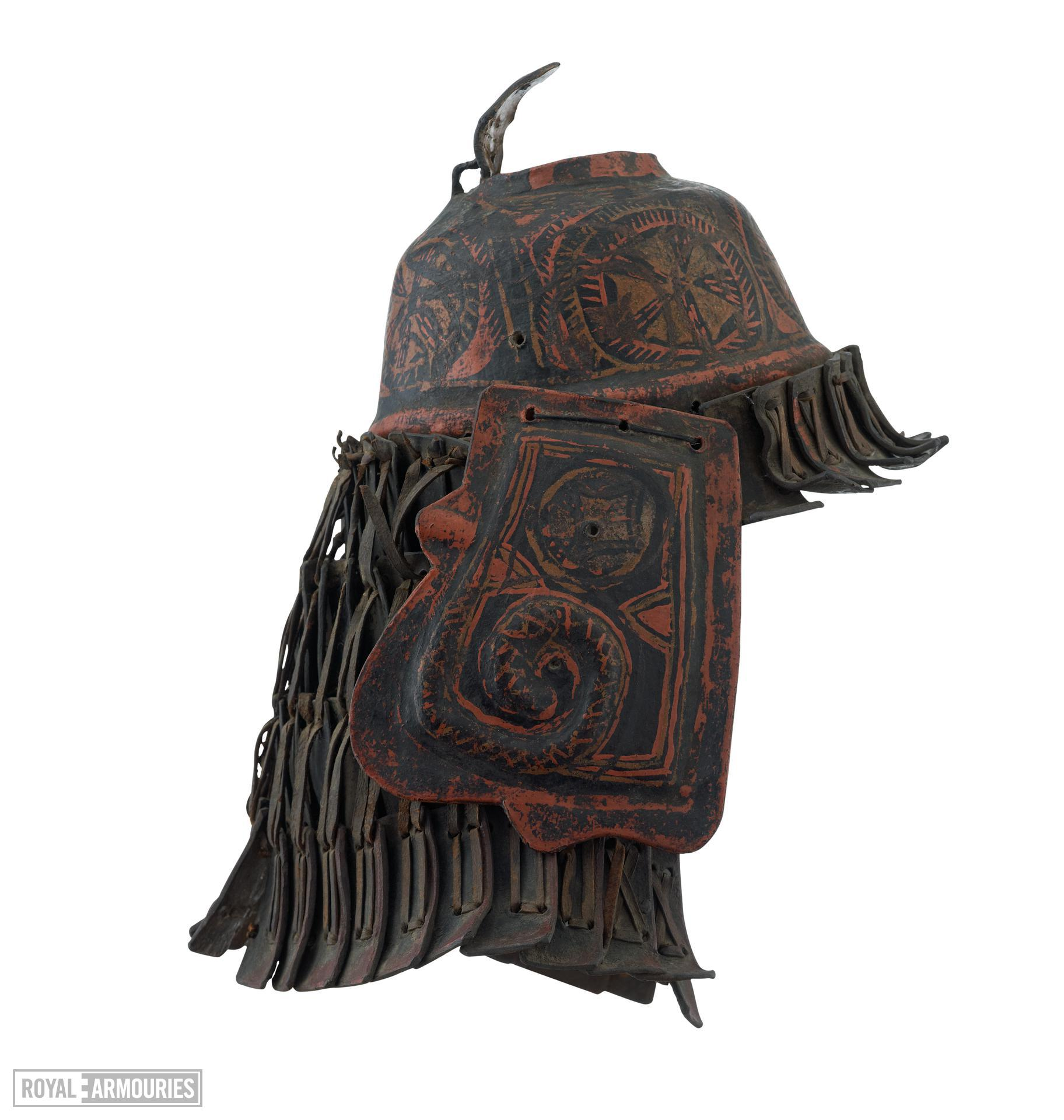 Helmet of lacquered rawhide