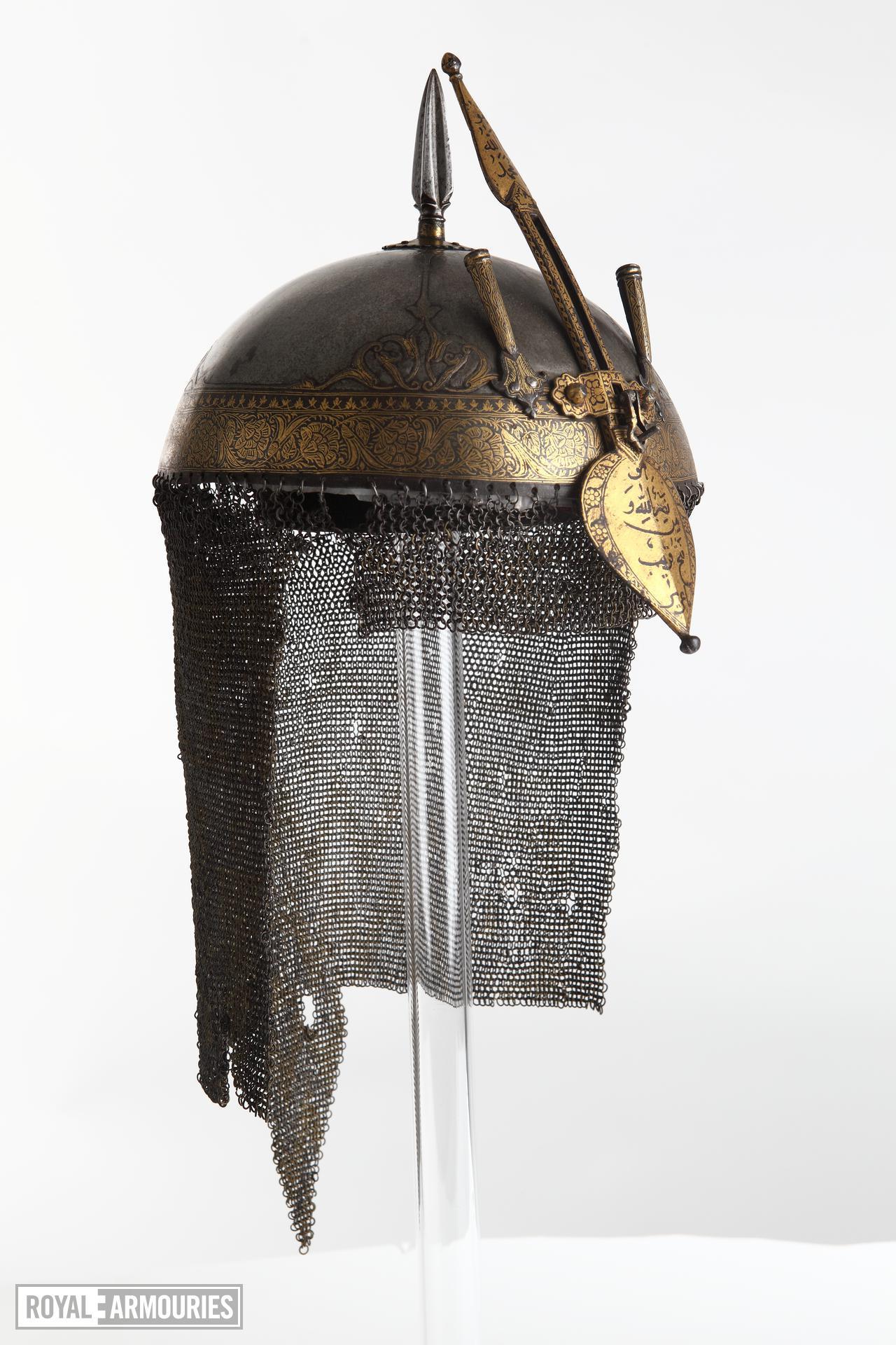 Helmet (top) with inscription on nasal.