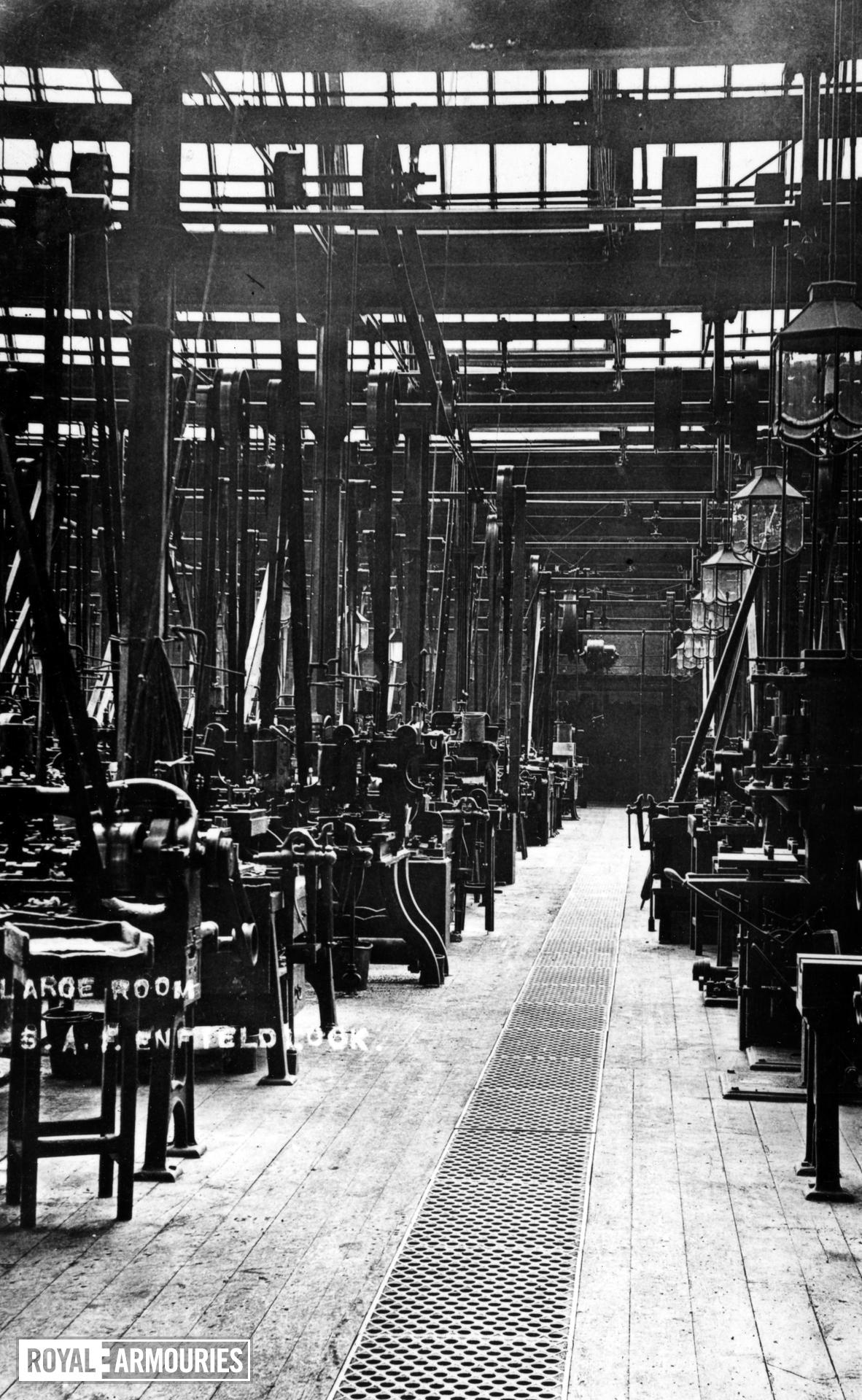 Photograph showing 'the large room' at the Royal Small Arms Factory, Enfield Lock, Britain, early 20th century