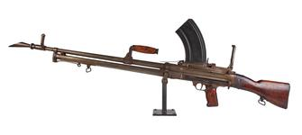 Thumbnail image of Centrefire automatic light machine gun - Experimental Lewis Lewis light machine gun produced by Soley Arms Co. and adapted for Bren detachable box magazine feed in lieu of the Lewis drum mechanism.