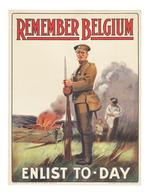 Thumbnail image of Poster 1st World War Recruiting poster: 'Remember Belgium - Enlist Today'.