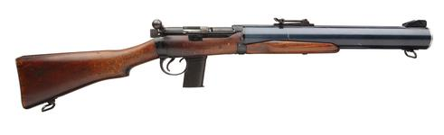 Thumbnail image of Centrefire bolt-action silenced carbine - De Lisle Commando Production version constructed at Sterling, Daganham  Integrally silenced.