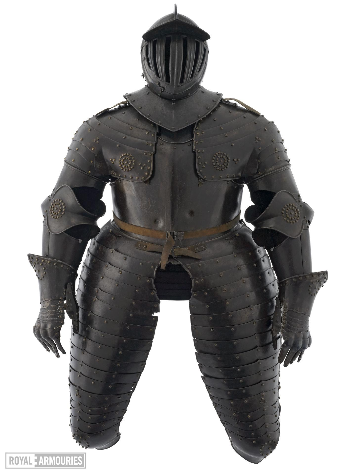 Cuirassier's field armour Consists of close helmet, breastplate, backplate, culet, tassets, pauldrons, vambrace and gauntlets.