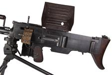 Thumbnail image of Bergmann light machine gun (MG 15Na), Germany, 1918, with small tripod mount and krank loaded Kurbel drum.