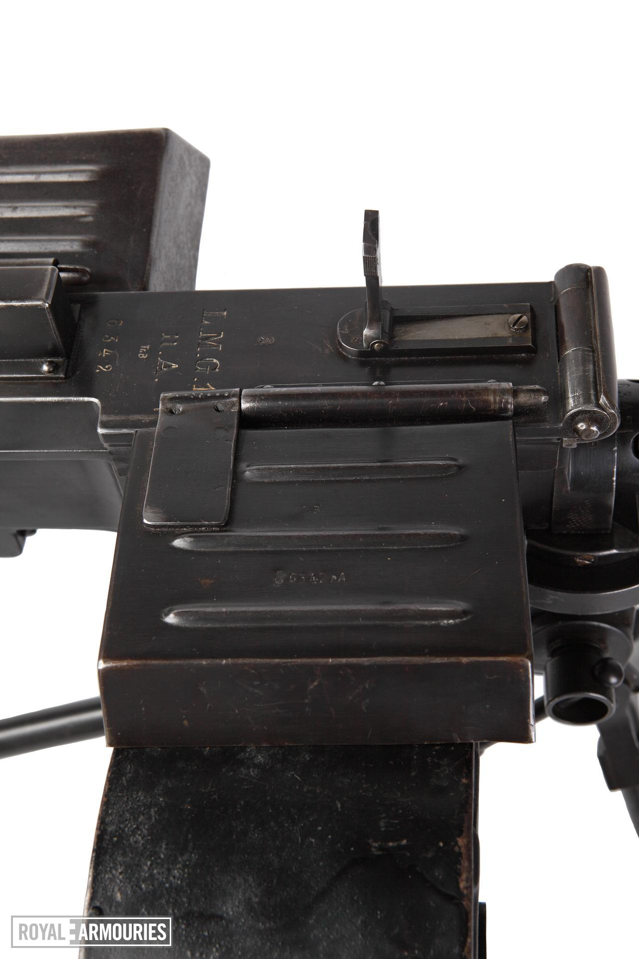 Bergmann light machine gun (MG 15Na), Germany, 1918, with small tripod mount and krank loaded Kurbel drum.