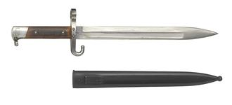 Thumbnail image of Mannlicher Model 1895 bayonet and scabbard, Austria, about 1895, wuth hook guard.