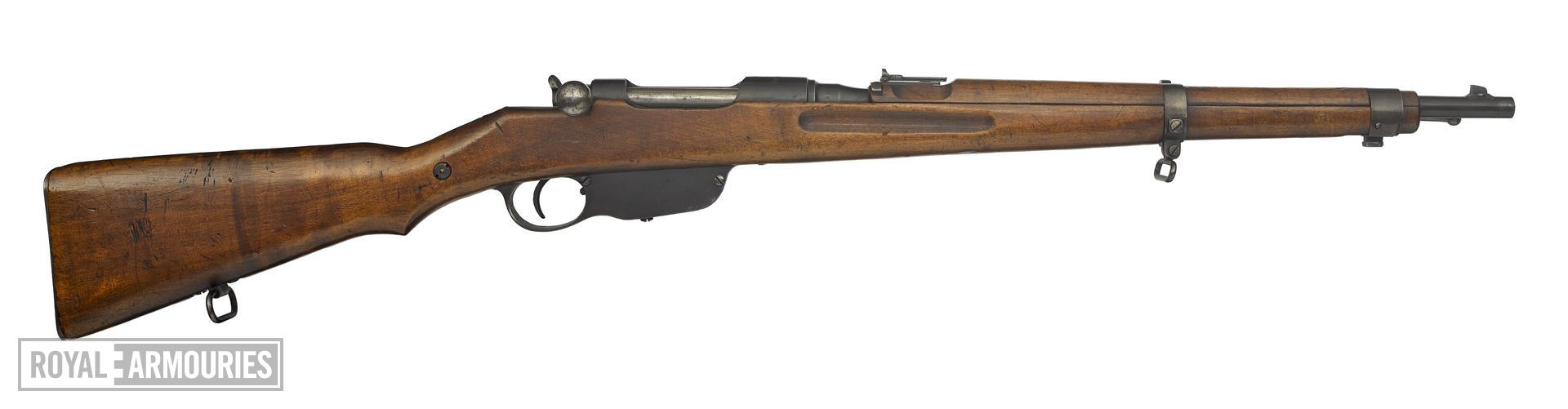 Stutzen Mannlicher Model 1895 Stutzen centrefire bolt action rifle, Austria, about 1895, marked with 'Budapest'.