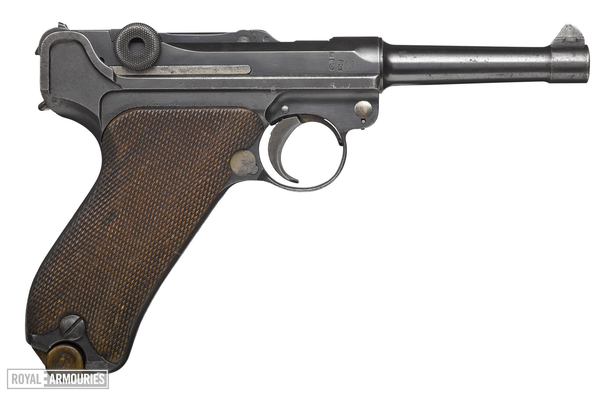 Luger model P08 centrefire self loading pistol, Germany, 1911, maufactured by Erfurt, serial No. 1