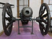 Thumbnail image of 2 pr gun and carriage Made of bronze. Cast by Alberghetti. Carriage contemporary XIX.79