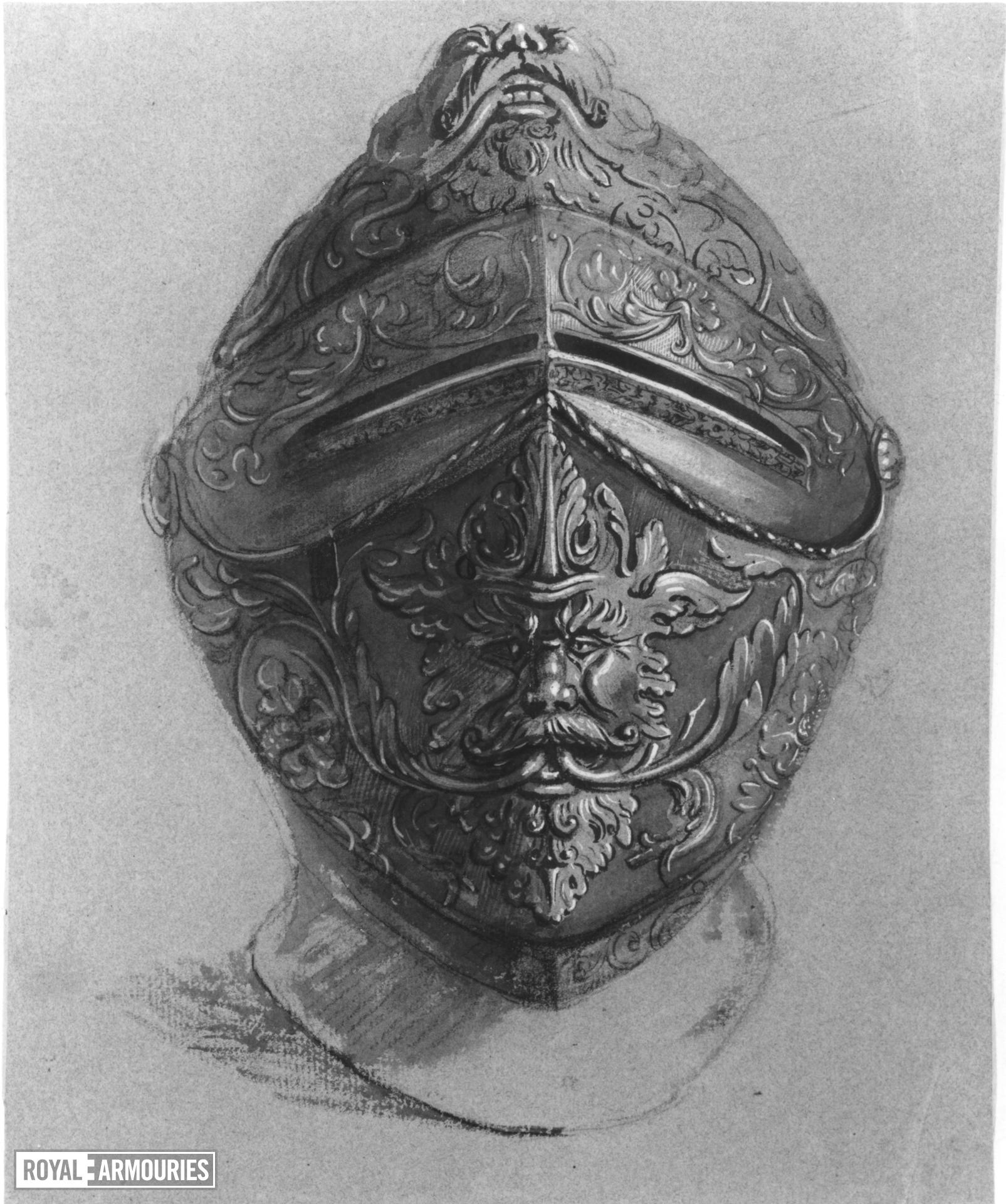 Grey wash drawing on grey paper of an embossed helmet, with the visor closed, from the front