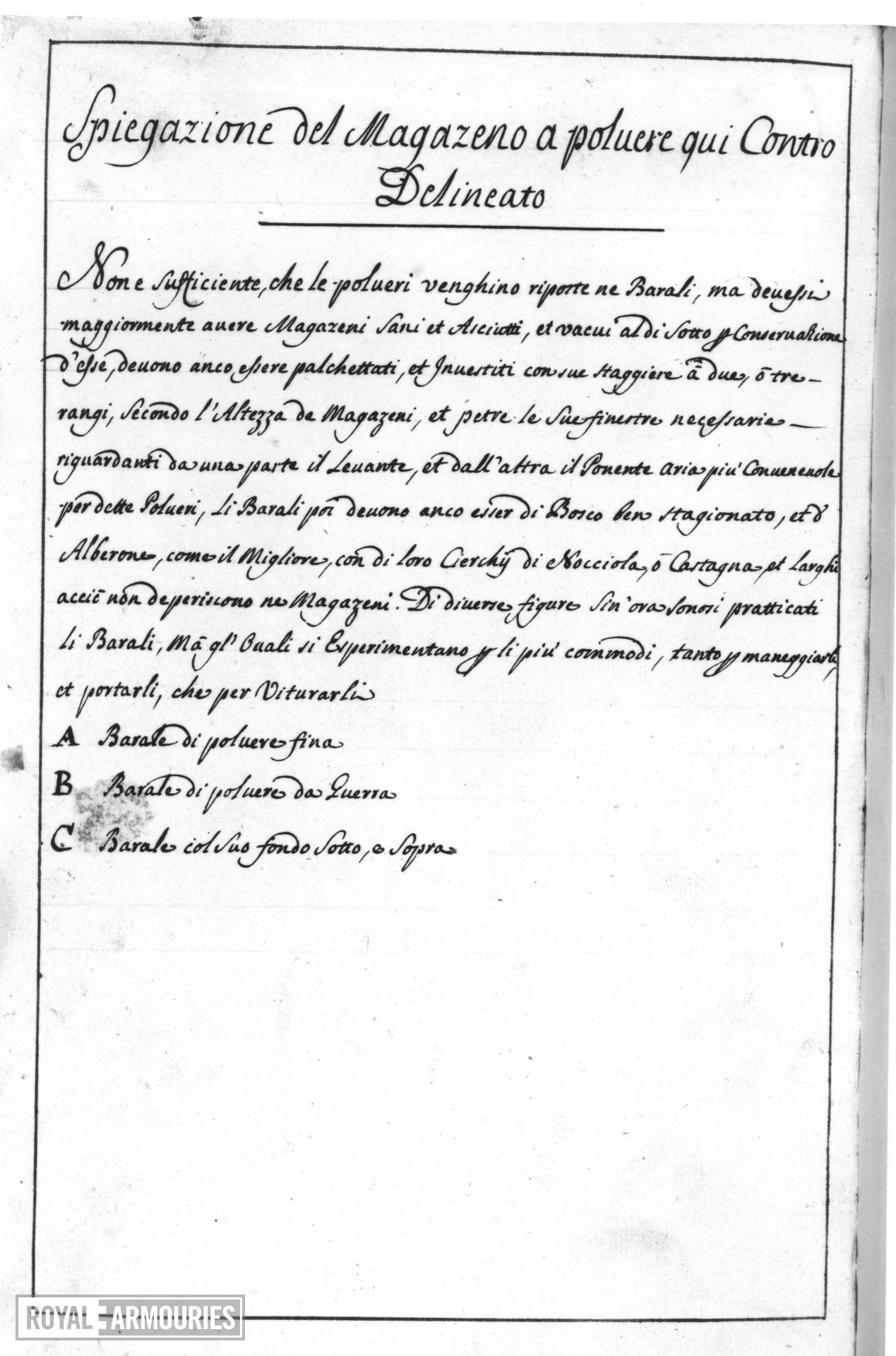 Manuscript entitled, 'Vocobolar di Artiglieria'