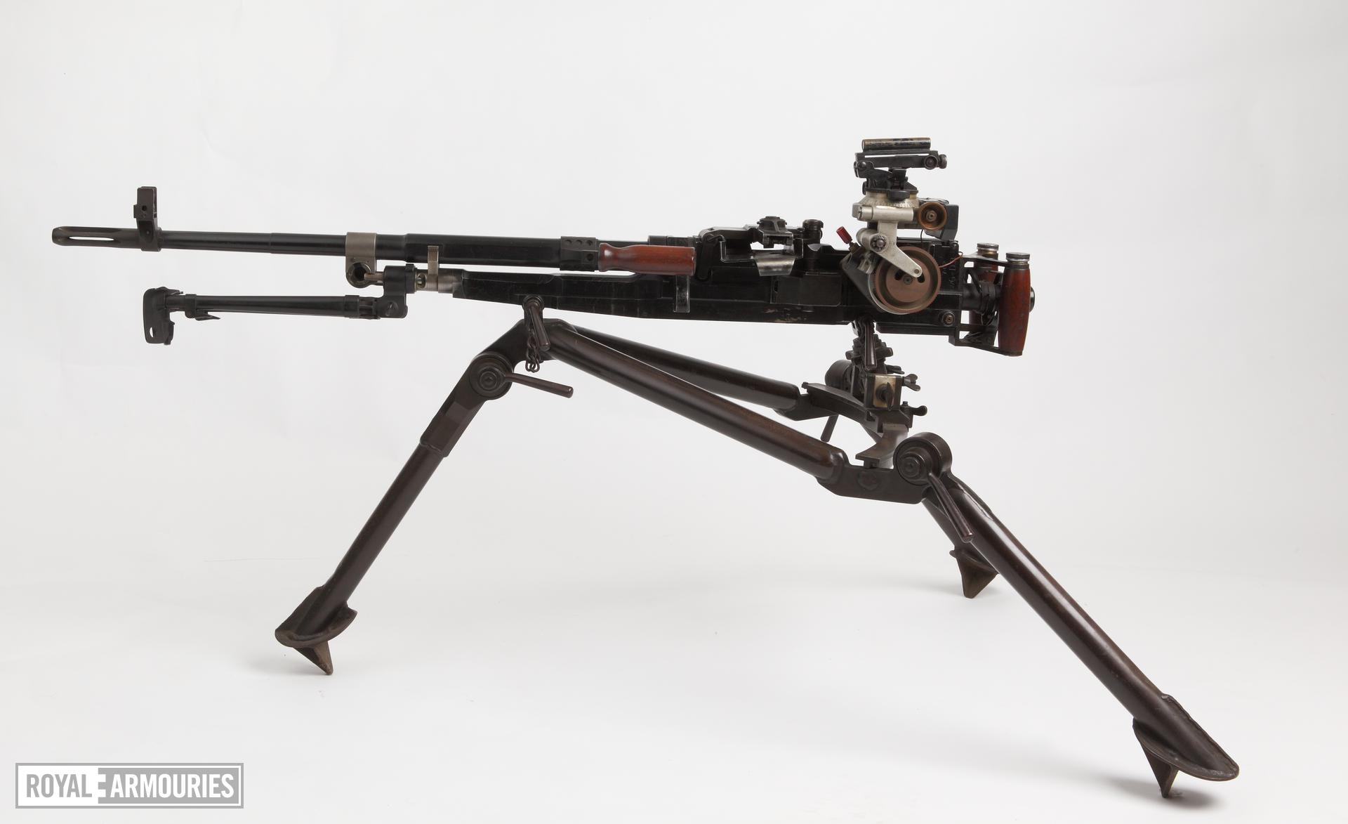 Experimental sustained fire machine gun, Turpin gun,  X11 E2, on tripod mount with Vickers adjustable dial sight