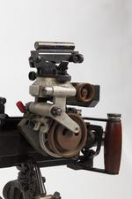 Thumbnail image of Experimental sustained fire machine gun, Turpin gun,  X11 E2, on tripod mount with Vickers adjustable dial sight
