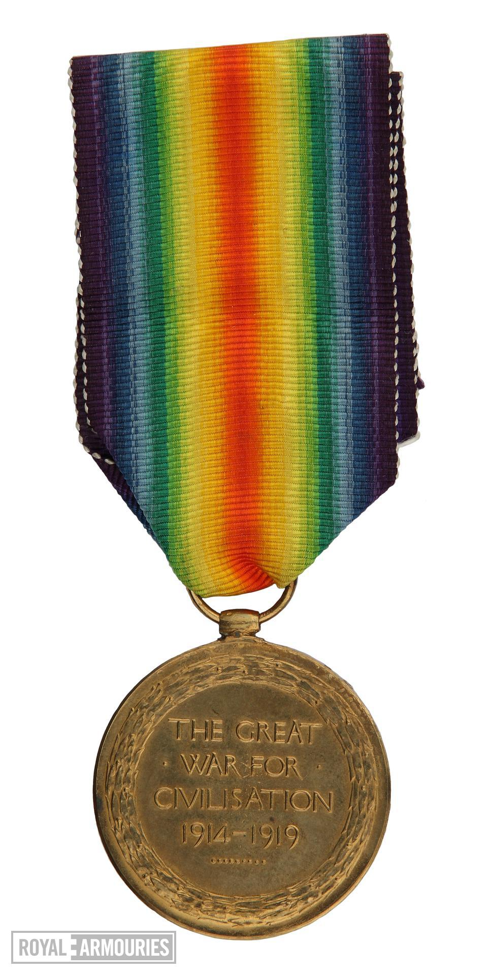 World War One Victory Medal (reverse)  issued to  Lance Sergeant Thomas Queenan, 1st West Yorkshie Regiment. (XVIII.461)