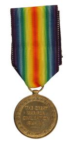 Thumbnail image of World War One Victory Medal (reverse)  issued to  Lance Sergeant Thomas Queenan, 1st West Yorkshie Regiment. (XVIII.461)