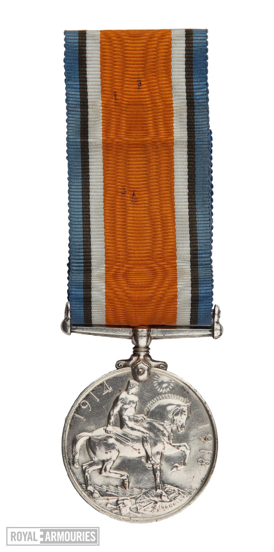 World War One British War Medal (reverse)  issued to  Lance Sergeant Thomas Queenan, 1st West Yorkshie Regiment. (XVIII.461)