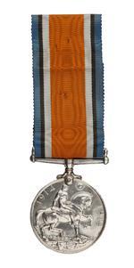 Thumbnail image of World War One British War Medal (reverse)  issued to  Lance Sergeant Thomas Queenan, 1st West Yorkshie Regiment. (XVIII.461)