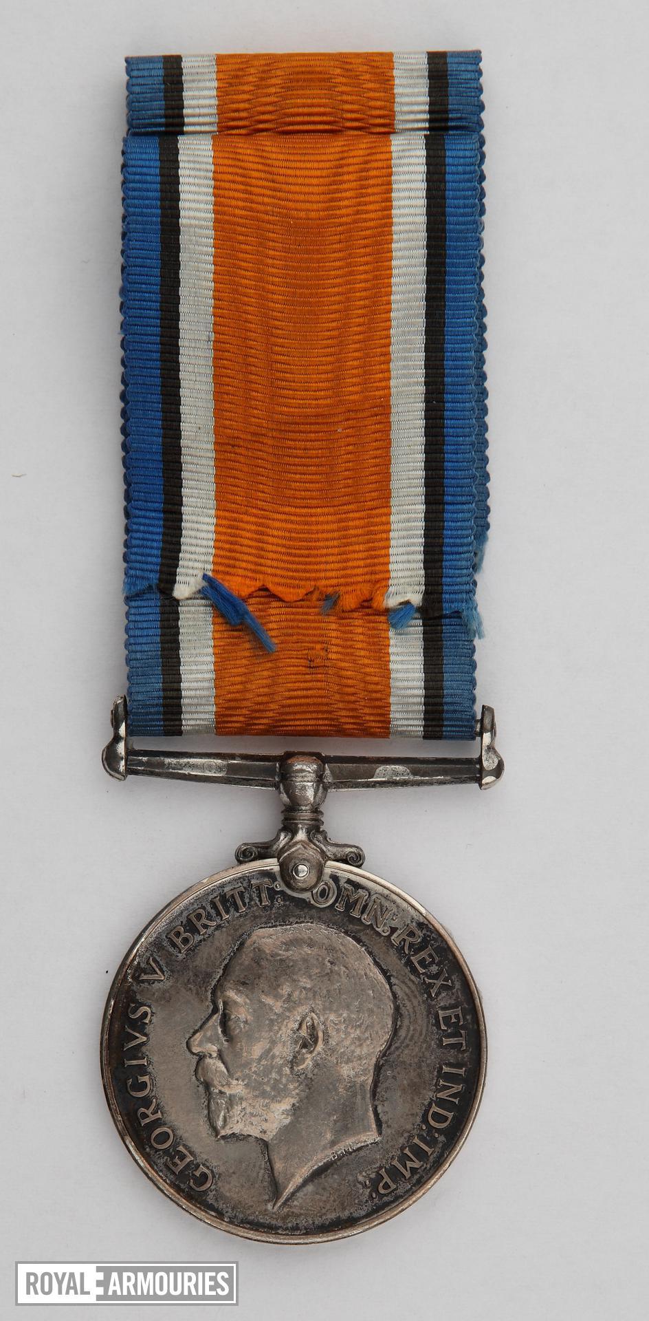 World War One British War Medal (obverse) issued to Lance Sergeant Thomas Queenan, 1st West Yorkshie Regiment. (XVIII.461)