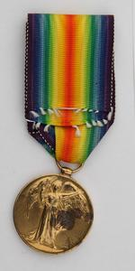Thumbnail image of World War One Victory Medal (obverse) issued to Lance Sergeant Thomas Queenan, 1st West Yorkshie Regiment. (XVIII.461)
