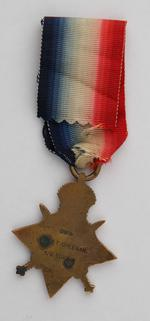 Thumbnail image of 1914 Star (reverse) issued to Lance Sergeant Thomas Queenan, 1st West Yorkshie Regiment. (XVIII.461)