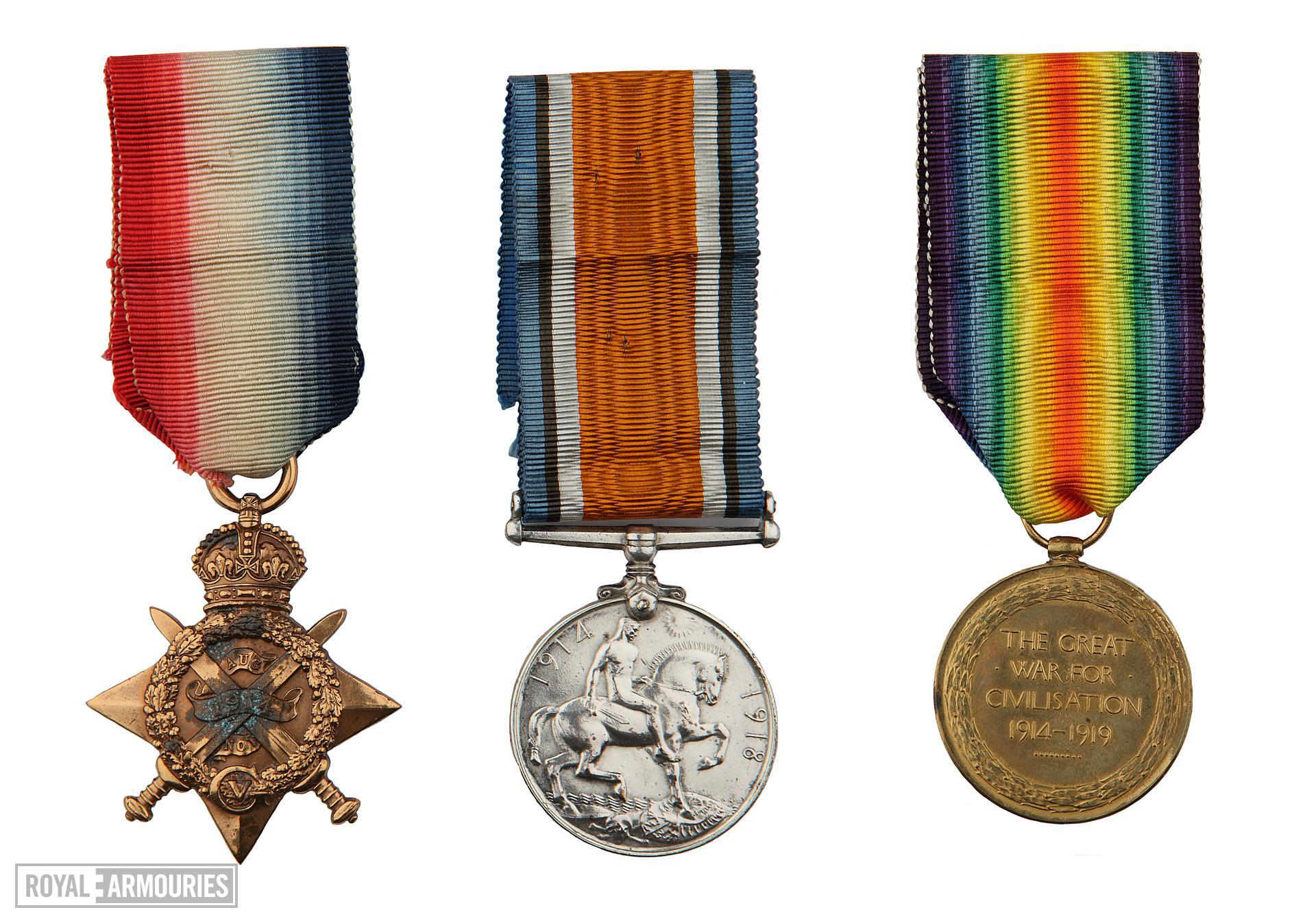 """1914 Star Medal Trio, consisting of 1914 Star (""""Pip""""), British War Medal (""""Squeak"""") and Victory Medal (""""Wilfred""""). This trio  issued to  Lance Sergeant Thomas Queenan, 1st West Yorkshie Regiment."""