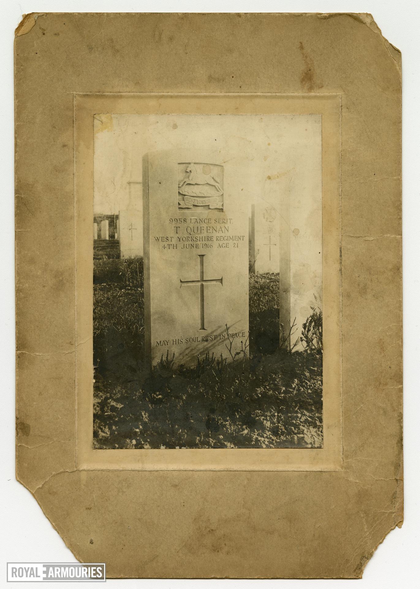 Head Stone of Lance Sergeant Thomas Queenan, 1st West Yorkshire Regiment, at Essex Farm Military Cemetary, Belgium. (XVIII.461)